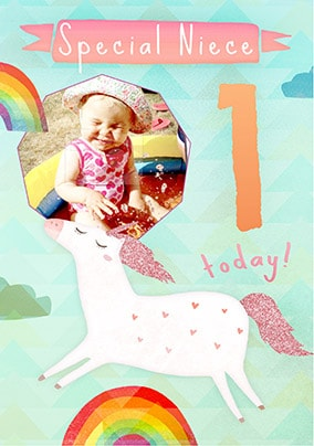 Special Niece Unicorn 1st Birthday Card NO Preview Image Is Not Found