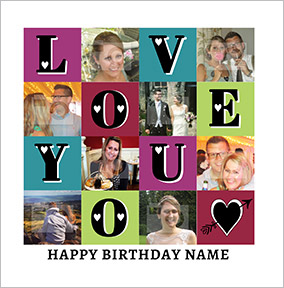 Essentials - Birthday Card Multi Photo Upload Love You Square