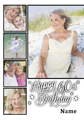 Essentials - 60th Birthday Card 5 Photo Upload