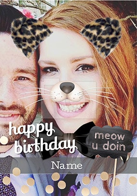 Cat Photo Filter Birthday Card