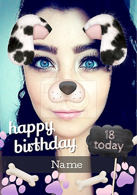 Dalmation Photo Filter Birthday Card