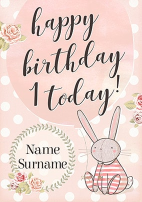 Le Petit Lapin Girl's Birthday Card - 1 Today