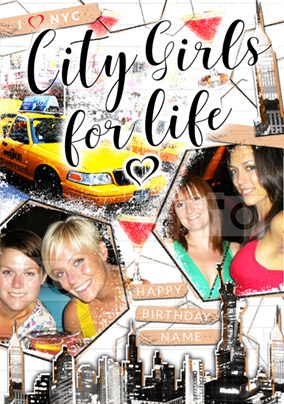 City Girls for Life Photo Upload Birthday Card