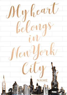My Heart Belongs In New York City Card