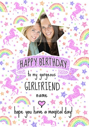Girlfriend Magical Day Photo Birthday Card