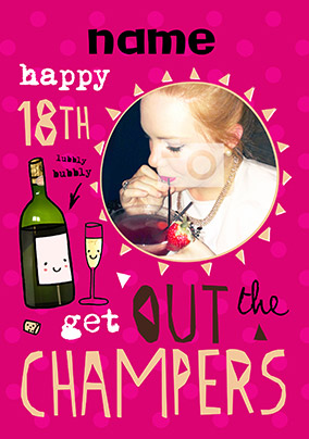 HAP-PEA-NESS - Birthday Card 18th Photo Upload Champers