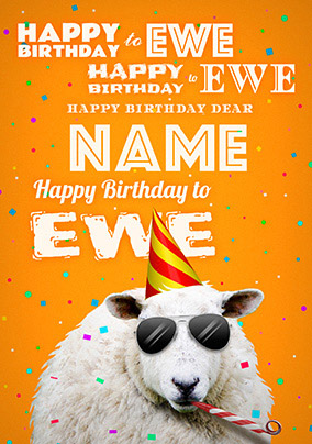 Happy Birthday To Ewe Sheep Card Funky Pigeon