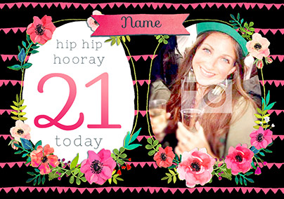Neon Blush - Birthday Card 21 Today Photo Upload