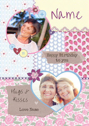 Patchwork - Birthday Card Hugs and Kisses