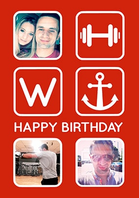Gym Anchor Multi Photo Birthday Card