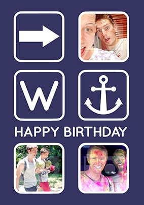 Right Anchor Multi Photo Birthday Card