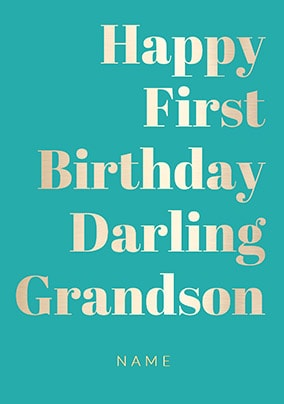 Shine Bright 1st Birthday Card Darling Grandson