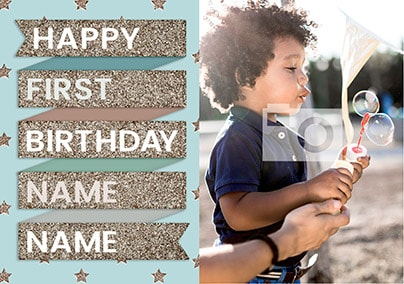 To The Stars 1st Birthday Card - Banner Boy