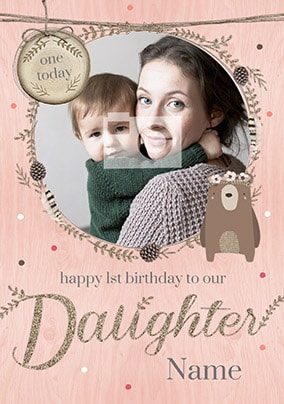 Woodland Wonder Daughter 1st Birthday Card NO Preview Image Is Not Found