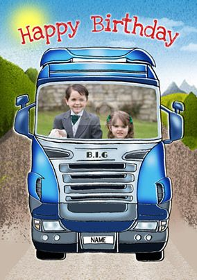 Blue Lorry Birthday Card