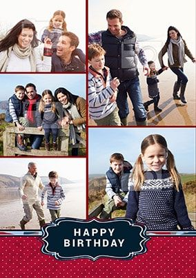 Familia Multi Photo Birthday Card