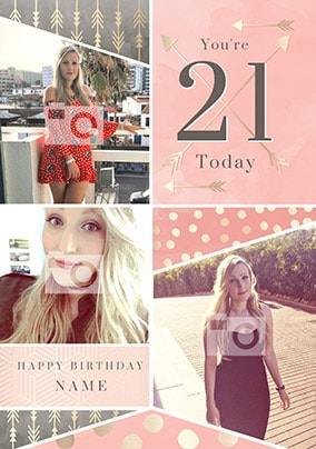 21 Today Pink Multi Photo Birthday Card