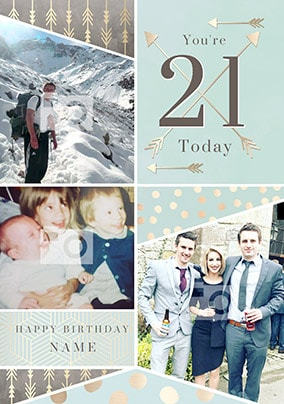Youre 21 Today Blue Multi Photo Card