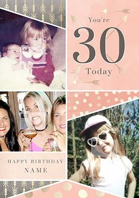 30 Today Pink Multi Photo Birthday Card