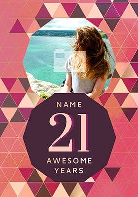 21 Awesome Years Female Photo Card