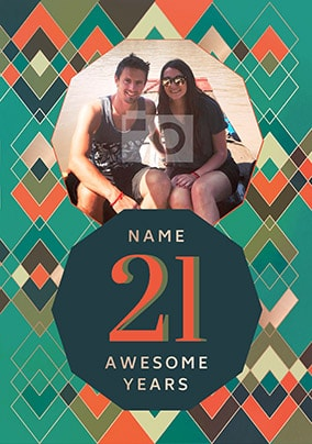21 Awesome Years Male Photo Card