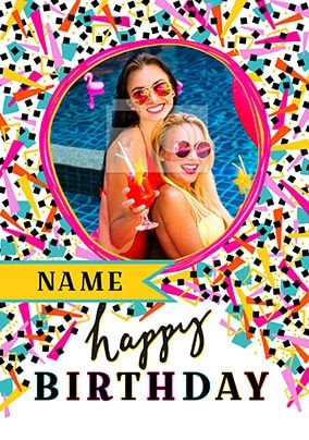 Happy Birthday Pink Confetti Photo Card