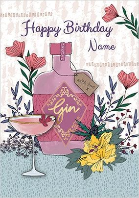 Happy Birthday Gin Personalised Card