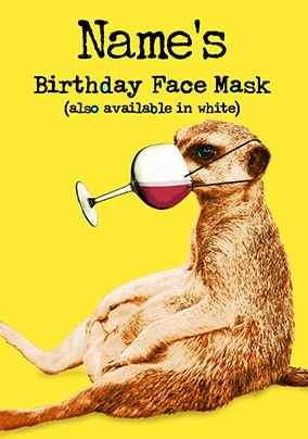 Birthday Face Mask Personalied Card