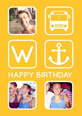 Bus Anchor Multi Photo Birthday Card