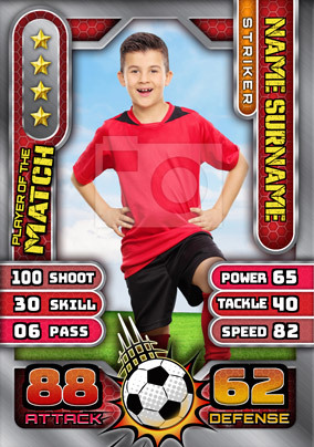 Red Birthday Football Photo Trading Card