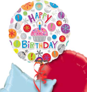 Happy Birthday Cupcake Balloon Bouquet