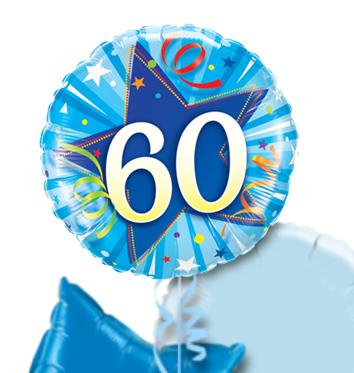 60th Birthday Blue Star Balloon Bouquet