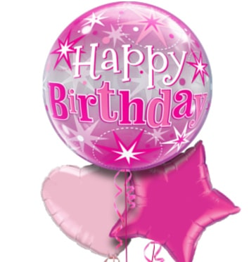 Pink Birthday Bubble Balloon