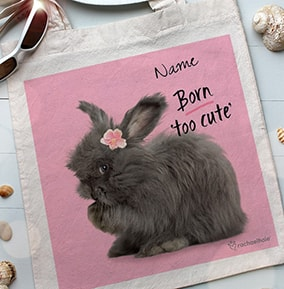 Fluffy Bunny Born Too Cute Tote Bag