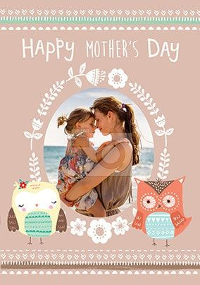 Little Owls photo upload Mother's Day Card