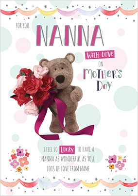 Barley Bear - Nanna with Love Personalised Card