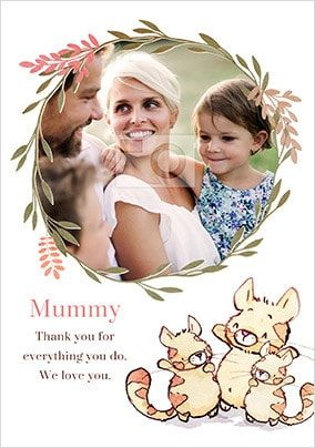 Furry Cats Mummy Photo upload Personalised Card