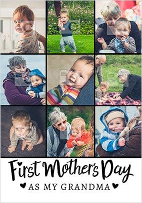 First Mother's Day As Grandma Multi Photo Card