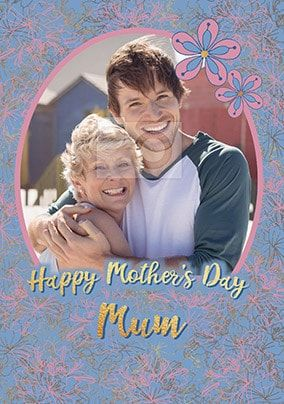 Happy Mother's Day Floral Frame Photo Card