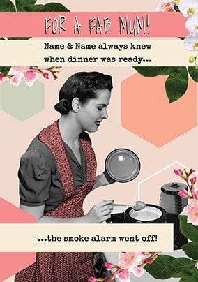 Dinner & Smoke Alarm personalised Mother's Day Card