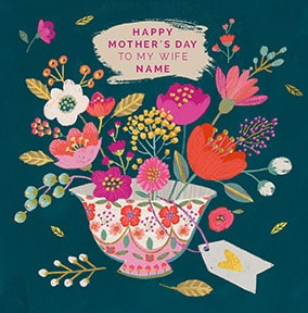 Floral tea cup Wife Personalised card