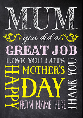 Mother's Day Great Job Card