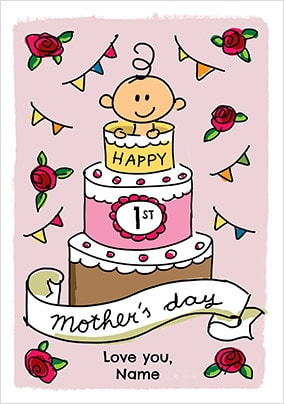 Babette - Happy First Mother's Day Baby Girl Personalised Card