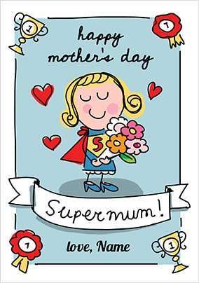 Babette - Super Mum Personalised Mother's Day Card