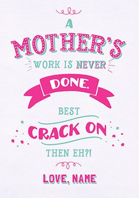 Crack On Personalised Mother's Day Card