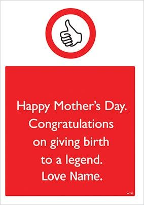 Birth To A Legend Personalised Mother's Day Card