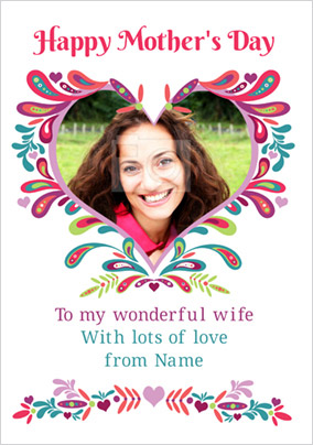 Folklore - Mother's Day Card Wonderful Wife Photo Upload