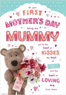 Barley Bear -1st Mother's Day Personalised Card