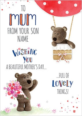 Barley Bear - Mum From Son Personalised Card