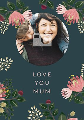 Love Mum Mother's Day Floral Photo Card